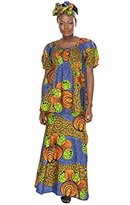 African Planet Womens Kenyan Style Clothing 3 Piece with Skirt Top Headwrap