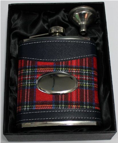 TARTAN PERSONALISED ENGRAVED PLAQUE 7OZ HIP FLASK GIFTBOXED