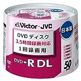 ビクター 日本製 映像用DVD-R 片面2層 CPRM対応 8倍速 8.5GB ワイドホワイトプリンタブル 50枚 VD-R215AM50