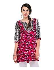Yepme Talya Printed Kurti - Pink & Black