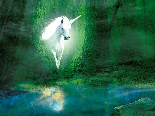 Licornes-Papier-Peint-PhotoPoster-Licorne-Dans-La-Fort-Verte-Magique-2-Parties-240-x-180-cm