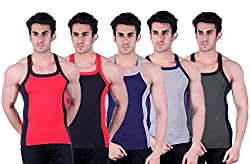 Zimfit Superb Gym Vests - Pack of 5 (RED_BLK_BLU_GRY_GRN_85)