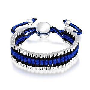 Bling Jewelry Linked Bar Blue Black Adjustable Friendship Bracelet Silver Plated