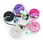 Costyle Wholesale 5pcs/lot 5 Colors Flat Noodles Ruggedized Braided Fabric/Sleeved Durable Cute 3Ft Feet 1M Meters USB 2.0 Data Sync Charging Cable Cord For iPhone 3G 3GS 4 4G 4GS iPod Touch 3G 4 4G iPad 1 2-Black White Pink Hot Pink Purple