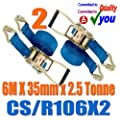 2 X Ratchet Tie Down Strap Heavy Duty 6 M Metre X 35mm Trailer Lorry CS/R106X2