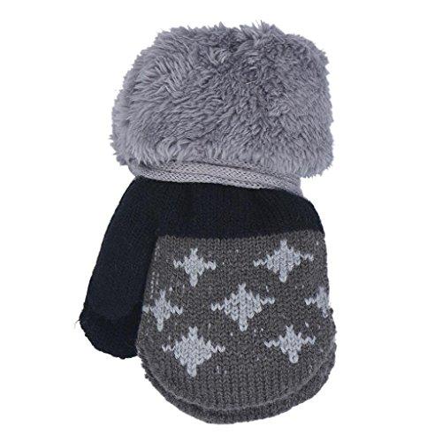 DZT1968 1 Pair Winter Baby Cute Thick Gloves Mittens With String (0-12 Months) (Dark Grey)