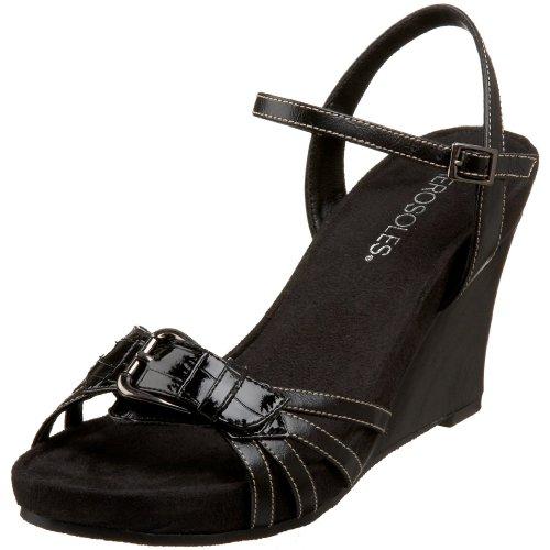 Aerosoles Women's Plush Around Wedge Sandal,Black Croco,8 M US
