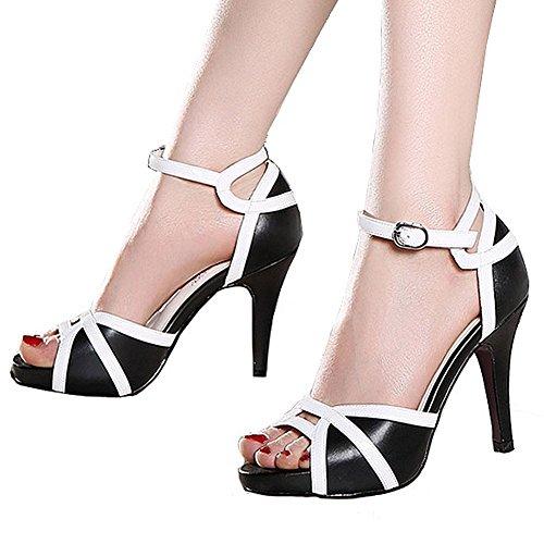 Getmorebeauty Women's White Black Peep Toes Buckle Dress Heeled Sandals (7 B(M) US, Black)