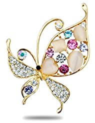 Silver Shoppee Vibrancy Of Hues 21K Yellow Gold Plated Cubic Zirconia And Opal Studded Alloy Brooch