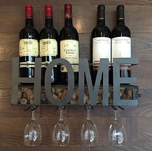 Wall Mounted Metal Wine Rack 4 Long Stem Glass holder & Wine Cork Storage By Soduku (Rack Wine Glasses compare prices)