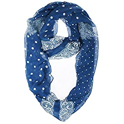 Vivian & Vincent Soft Light Weight Lace Polka Dot Sheer Infinity Scarf