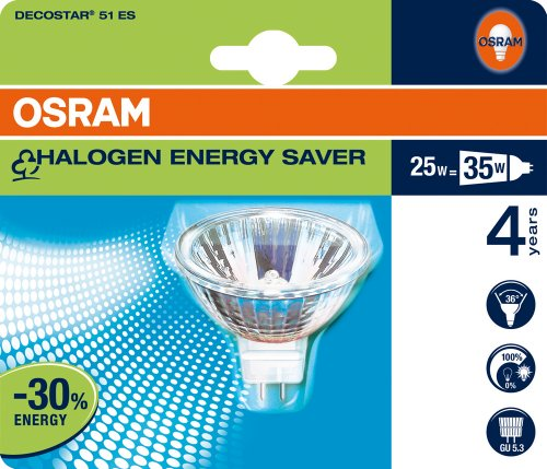 Osram 42319B1 Decostar 51 Energy Saver GU5,3 Flood 36° 47860 ES Halogenlampe Reflektorform 20W/12V