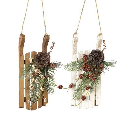 Pack of 8 Nature's Peace Vintage-Style Rustic Wooden Sled Christmas Ornaments 8″
