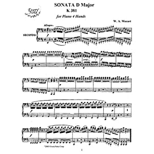 Mozart Sonata in D Major K 381 for Piano 4 Hands: Instantly