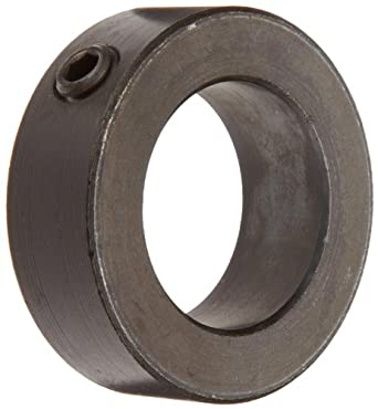 "Climax Metal C-137-BO Shaft Collar, One Piece, Set Screw Style, Black Oxide Plating, Steel, 1-3/8"" Bore, 2-1/8"" OD, 3/4"" Width, With 3/8-16 x 3/8 Set Screw"