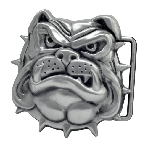 Buckle Rage 3D English Spiked Collar Angry Bulldog Belt Buckle Silver