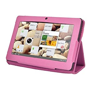 GMB Slim Fit Folio Stand Leather Case Cover for 7 Inch Android Tablet(Q88) -9 Color Options(Rose Red) from GomeBuy
