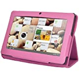 GMB Slim Fit Folio Stand Leather Case Cover for 7 Inch Android Tablet(Q88) -9 Color Options(Rose Red)