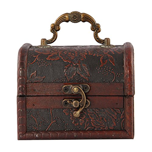Valdler Antique Wooden Embossed Flower Pattern Jewelry Treasure Box Storage Organizer Treasure Chest Pack of 2