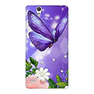 Ajay Enterprises Pink Flower and Buterfly Back Case Cover for Sony Xperia C4