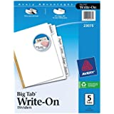 Avery Big Tab Write-On Dividers, 5-Tabs, White, 1 Set (23075)