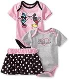 Disney Baby-Girls Newborn 2 Bodysuits and Skirt Set