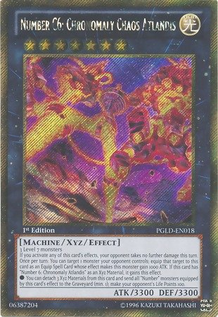 Yu-Gi-Oh! - Number C6: Chronomaly Chaos Atlandis (PGLD-EN018) - Premium Gold - 1st Edition - Gold Secret Rare - 1