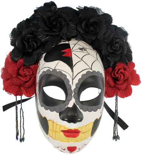 RedSkyTrader Women's Day Of the Dead Floral Costume Mask