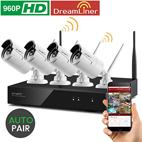 Dream-Liner-WiFi-Booster-xmartO-WOS1344-4CH-960p-HD-Wireless-Security-Camera-System-with-4x960p-HD-Wireless-Outdoor-IP-Cameras-Built-in-Router-13MP-Camera-IP66-80ft-IR-No-HDD