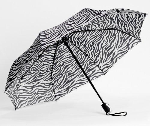 Compact Mini Triple Fold Zebra Print Umbrella