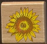 "Sunflower Head Autumn 2"" Wood Mounted Rubber Stamp For Scrapbooking Crafts"