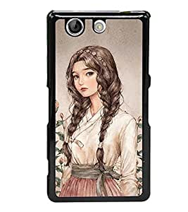 Cute Girl 2D Hard Polycarbonate Designer Back Case Cover for Sony Xperia Z4 Compact :: Sony Xperia Z4 Mini