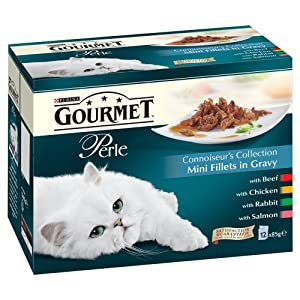 Purina Gourmet Perle Connoisseur's Collection Mini Fillets in Gravy Wet Cat Food 12 x 85 g (Pack of 4)