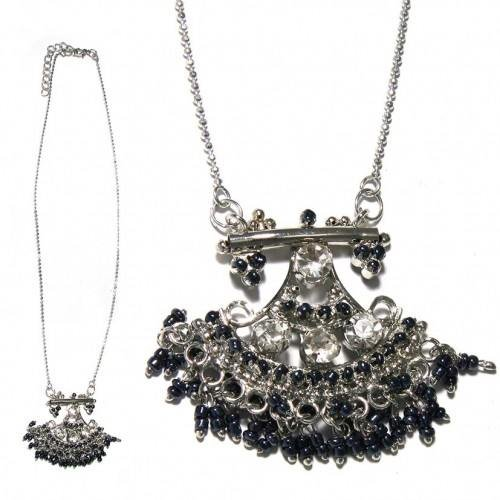 sg paris women necklace necklace 40cm+ext rhodium crystal+hematite strass crystal/metal