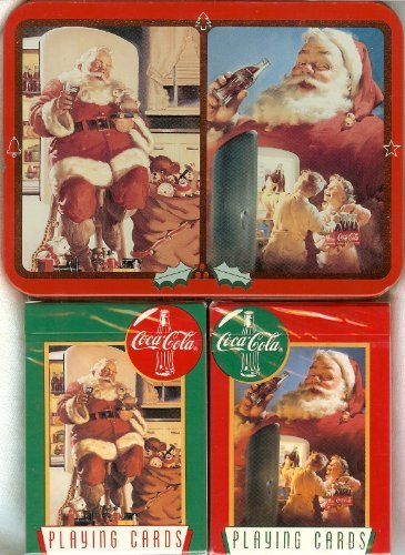 Playing Cards: Limited Edition 1995 Coca Cola Coke Santa ~ Two Decks ~ in a Collectible Tin - 1