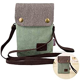 Women Candy Green Mini Cute Crossbody Bag Cellphone Wallet Purse Loose Change Pouch for iPhone 6S/6 Plus Samsung Galaxy Note 5 4 with NEW DURABLE SHOULDER and WRIST STRAP