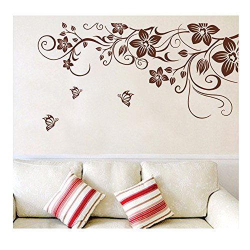 High Quality Adhesive Rooms Walls Vinyl DIY Stickers / Murals / Decals / Tattoos / Transfers With Delicate Flowers, Butterflies And Swirls Designs In Brown Color By VAGA (Brown Butterfly Decals compare prices)