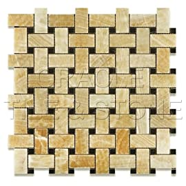 Honey Onyx Polished Basketweave Mosaic Tile w/ Black Dots