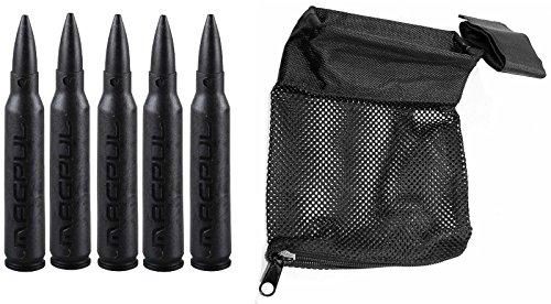 Magpul 215 Black 5.56 Pack Of 5 Dummy Ammo + Ultimate Arms Gear Tactical Deluxe Mesh Ar15 Ar-15 .223 5.56 Rifle Brass Shell Bullet Catcher Bag