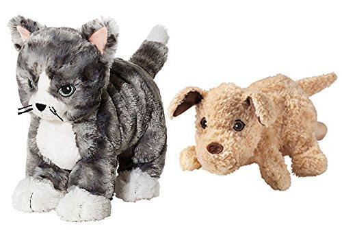 Plush-Stuffed-Grey-Striped-Kitty-Cat-Plus-Puppy-Glove-Puppet