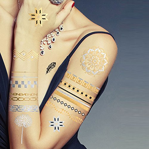 Tafly glitter gold transfer temporary tattoos stickers 6 for Fake tattoos amazon