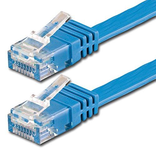 2m - Flachkabel CAT6   blau - 1 Stück   10/100/1000 Mbit/s   Gigabit LAN Netzwerkkabel   Flach   Slim   Patchkabel   Verlegekabel   CAT5e CAT 6 Cat 7 - kompatibel   Flachband   Internet   DSL  Lankabel   für Fußböden, Laminat, Parkett, Randleisten, Sockelleiste, Teppiche bestens geeignet
