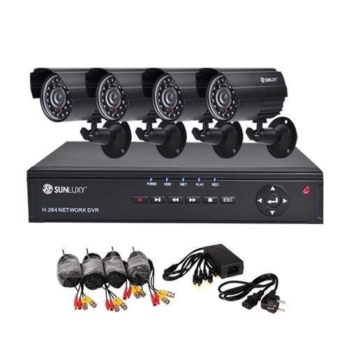 SUNLUXY 4 Kanal CCTV H.264 DVR Recorder Video Überwachungssystem mit 4x 600TVL CMOS IR Tag/Nacht Wetterfest Outdoor Überwachungskamera Sicherheit Kameras Set Außen