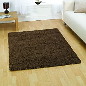 Brown Shaggy Rug - Soft Textured Surface - Stain Resistant - W 80cm x L 150cm