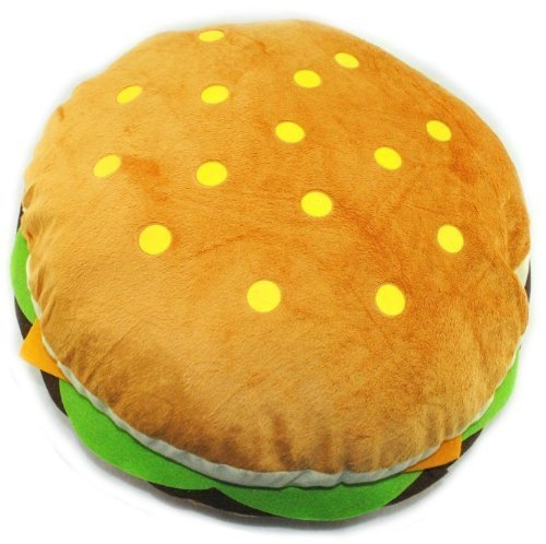 [Kids Teens Fun Cute Hamburger Soft Stuffed Pillow Round Throw Plush Toy 15