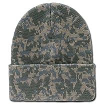 Decky Knit Universal Digital Camo Cuff Long Beanie - Winter Wear/Sports - Grey