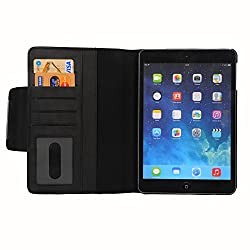 HOKO Black Leather wallet Flip Case Cover Stand for Apple iPad Mini 2 (with 5 card slots and Auto wake sleep feature)