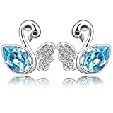 Celebrity Jewellery-013 Blue Bling Swan Swarovski Crystal Fashion Earrings for Women Free Gift Box Christmas Gift