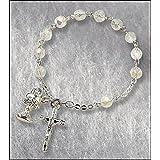 Catholic Girls Rosary Bracelet First Communion Rosary Bracelet, Material: Glass 6 Mm Bead/silver Plate Size: 7