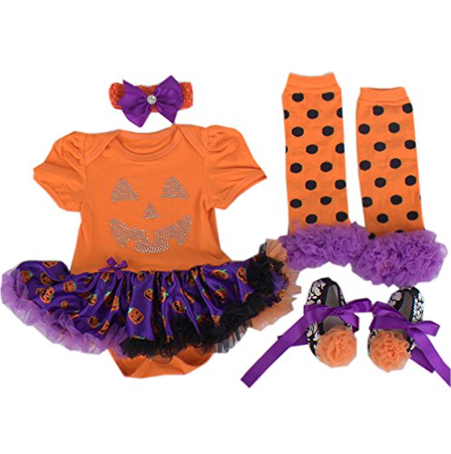 Tanzky® 4Pcs Lovely Infant Baby Girl'S Festivel Costume Party Dress Clothes (L 9-12Months, Orange)